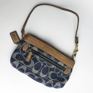 Coach Blue Signature Wristlet Leather Strap